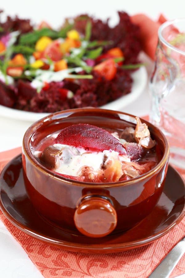 Rode koolsoep met bieten (borscht) royalty-vrije stock afbeeldingen