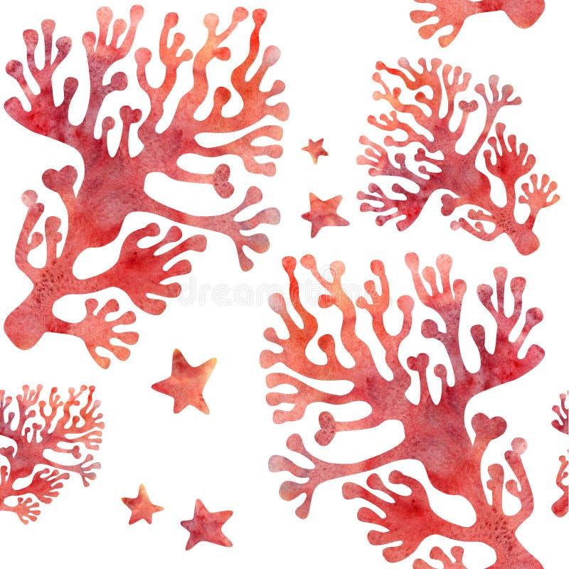 Rode koralen naadloos royalty-vrije illustratie