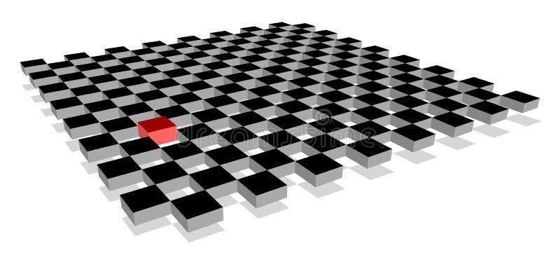 Rode kubus die van menigte op 3d schaakbordvliegtuig duidelijk uitkomen royalty-vrije illustratie
