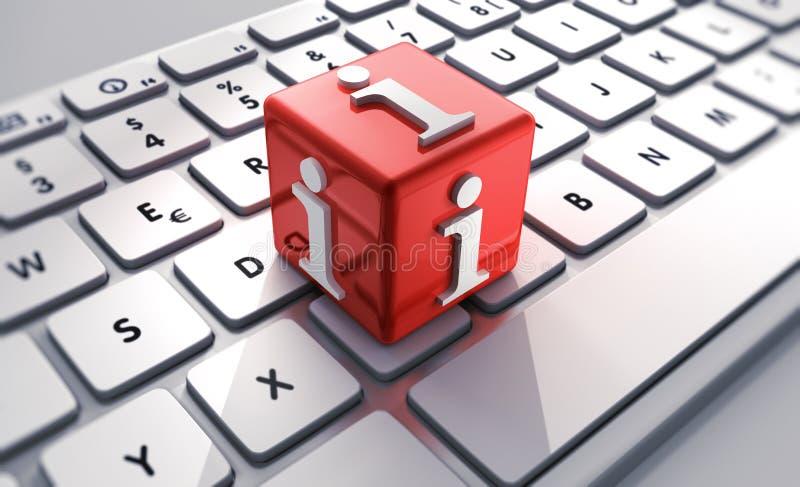 Rode kubus met informatietekens op toetsenbord stock illustratie