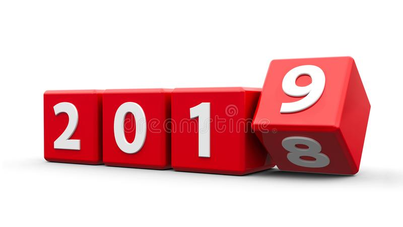 Rode kubussen 2019 stock illustratie