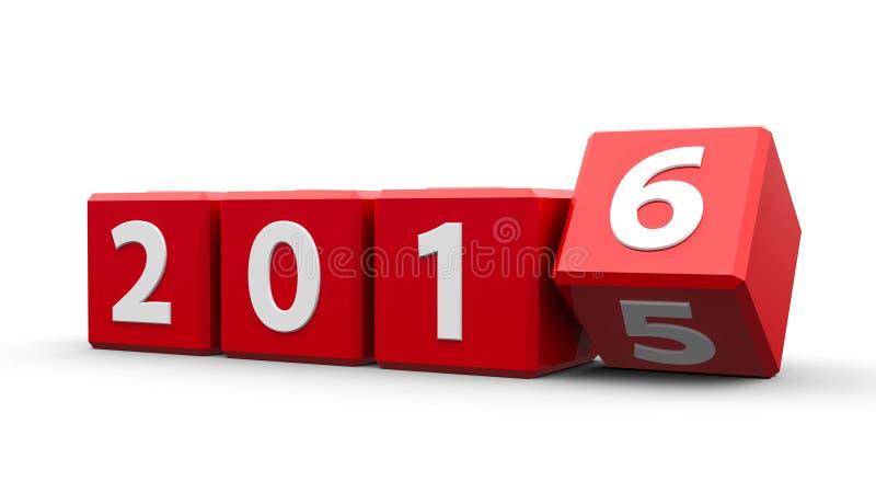 Rode kubussen 2016 stock illustratie