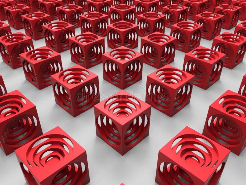 Rode kubussen abstracte achtergrond stock illustratie