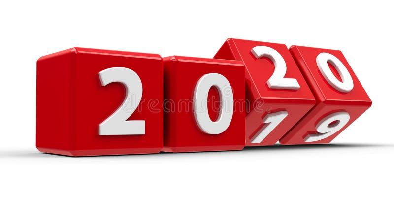 Rode kubussen 2020 #3 stock illustratie