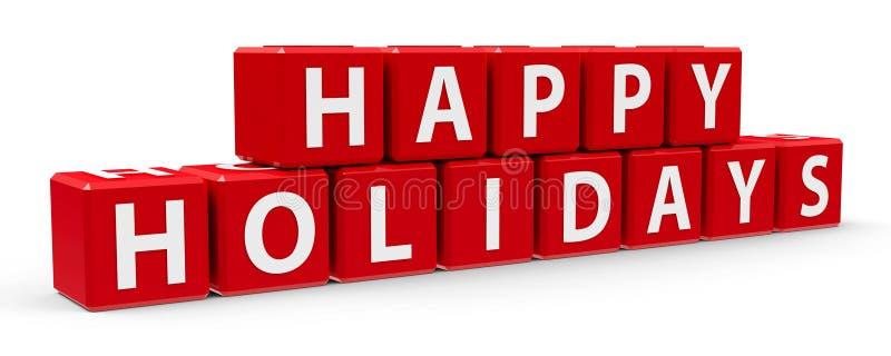 Rode kubussen gelukkige vakantie 2 royalty-vrije illustratie