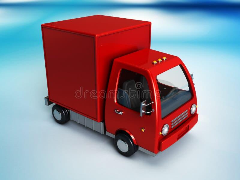 Rode leveringsvrachtwagen vector illustratie