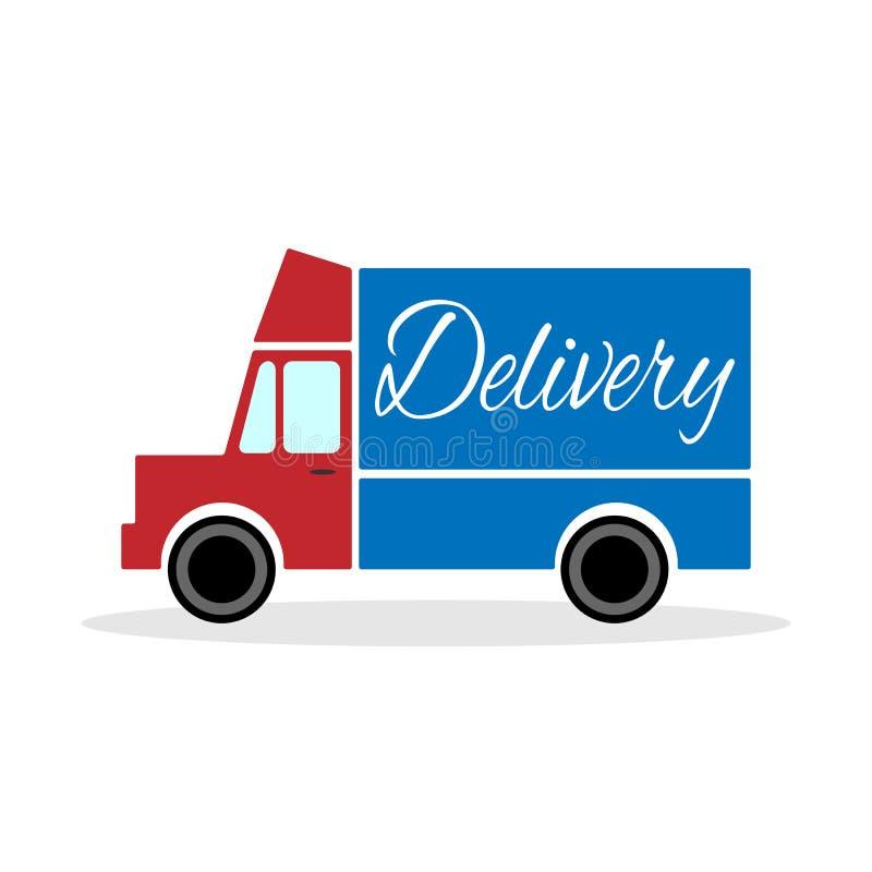 Rode leveringsvrachtwagen met blauw lichaam Vector illustratie royalty-vrije illustratie