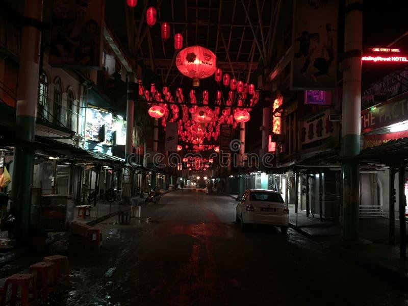 Rode lichten in China bij nacht stock afbeeldingen
