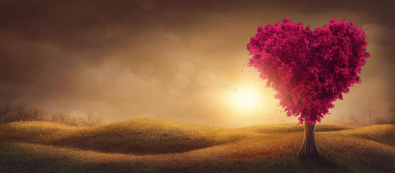 Rode liefdesboom royalty-vrije stock fotografie