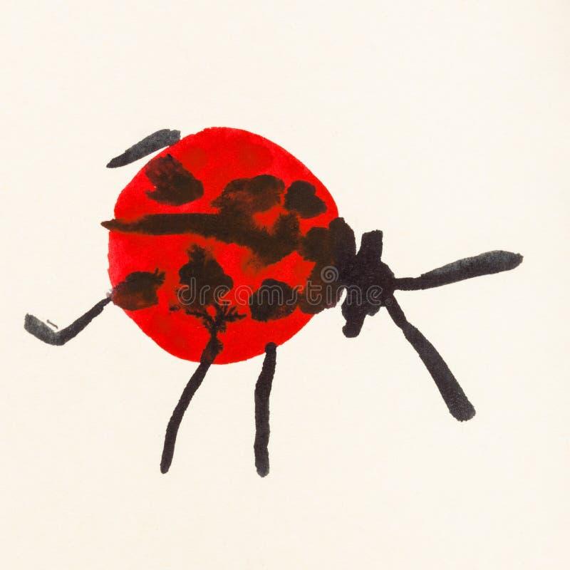 Rode lieveheersbeestjehand die op room gekleurd document wordt geschilderd royalty-vrije illustratie