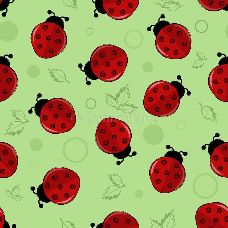Rode lieveheersbeestjes, onzelieveheersbeestjes met groene bladeren vector naadloze achtergrond stock illustratie