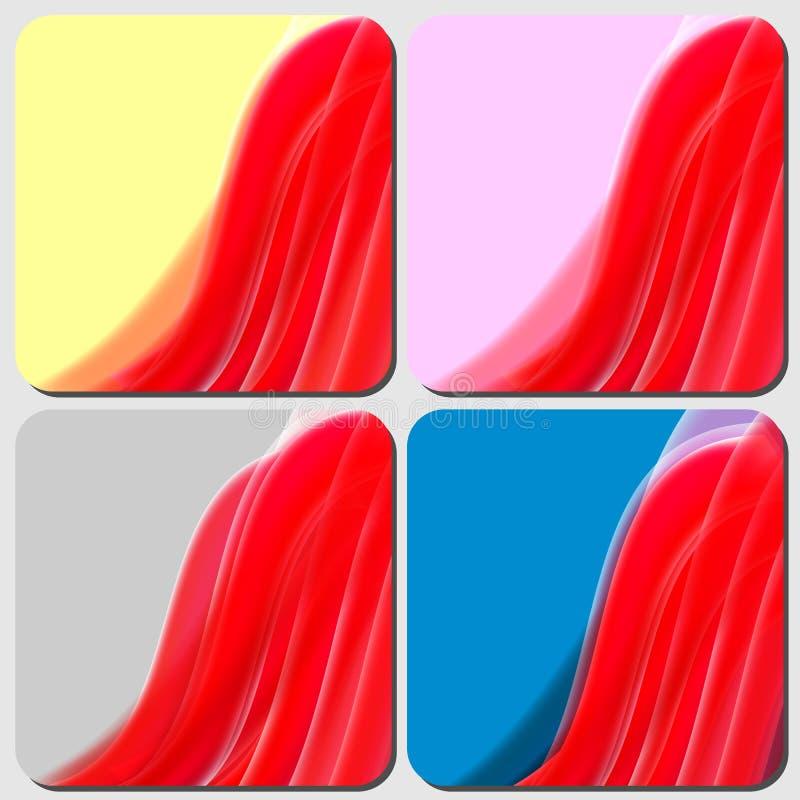 Rode lijnen, het recht van de golfmotie, Ontwerp abstracte achtergrond royalty-vrije illustratie
