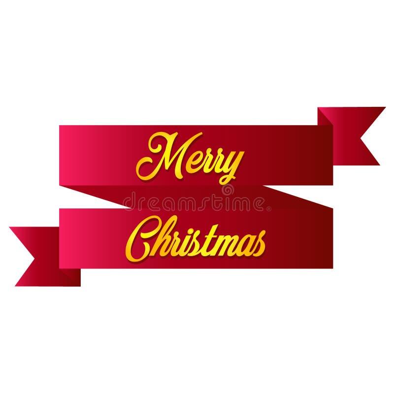 Rode lint realistische gedetailleerde gebogen document Vrolijke die Kerstmisbanner op witte achtergrond wordt geïsoleerd vector illustratie