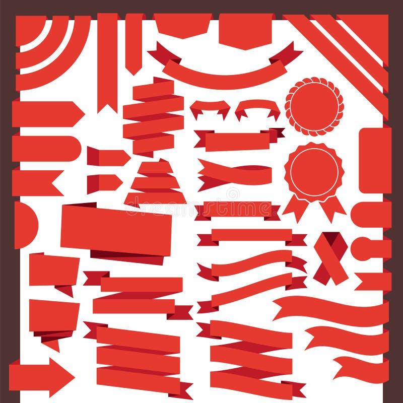 Rode linten en banners in vlakke stijl royalty-vrije illustratie