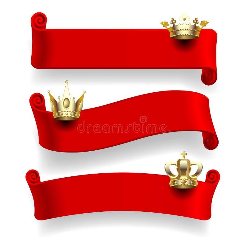 Rode linten met gouden kronen vector illustratie