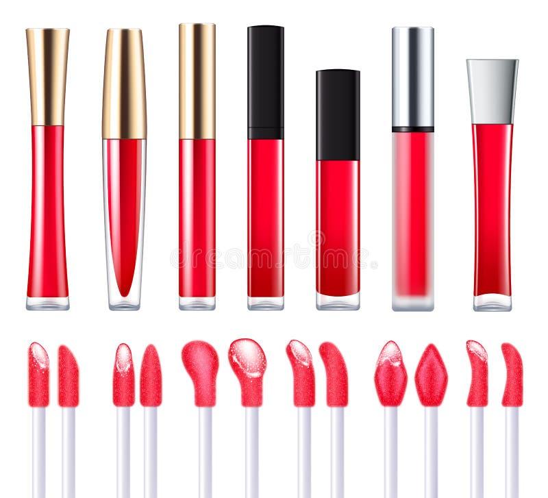 Rode lipglossreeks stock illustratie