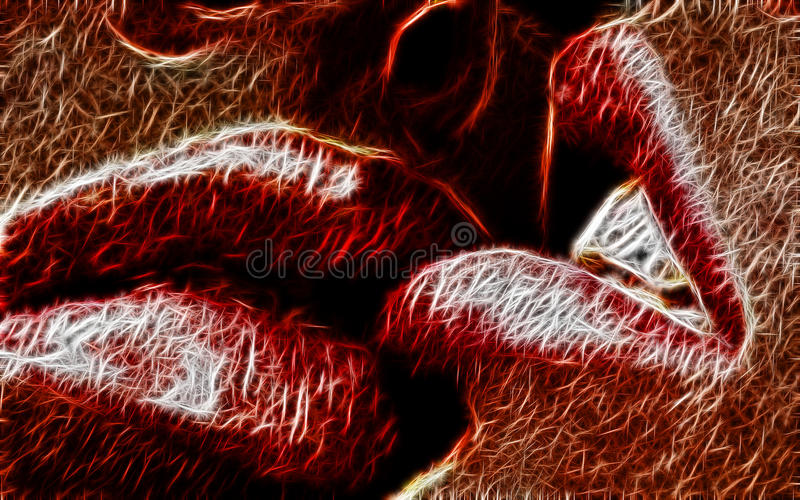 Rode lippenfractal samenvatting royalty-vrije stock afbeeldingen