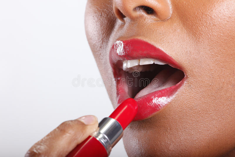 Rode lippenstift royalty-vrije stock foto's