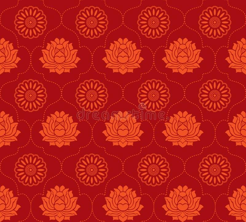 Rode lotusbloem naadloze achtergrond