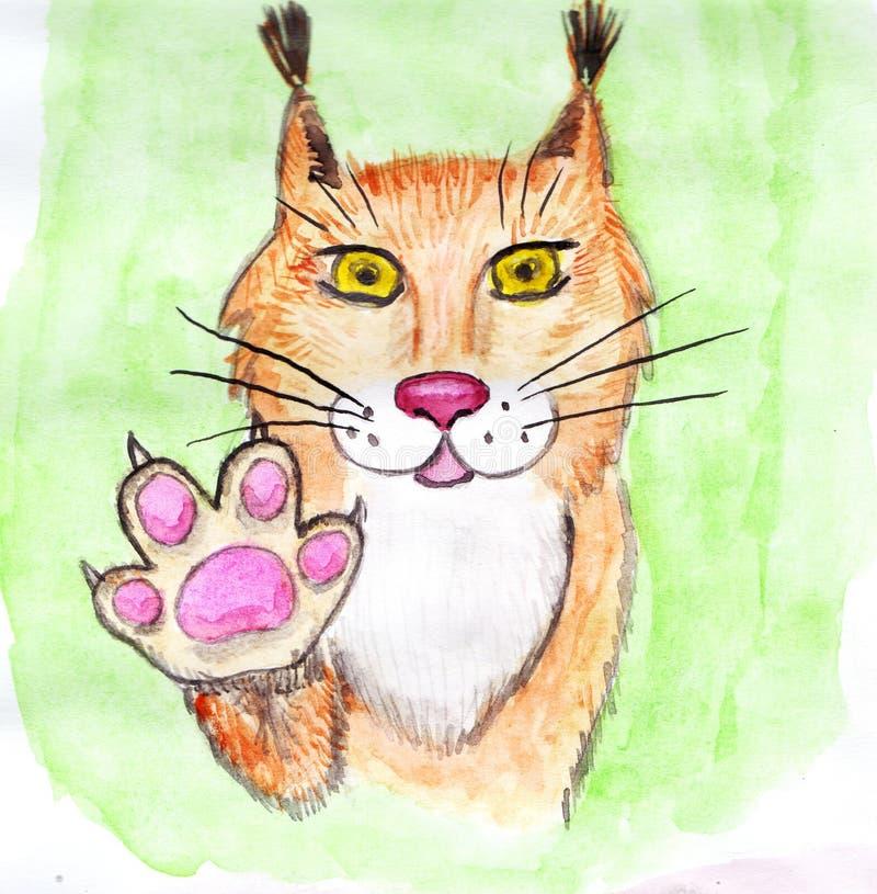 Rode Lynx met opgeheven juiste poot stock afbeelding