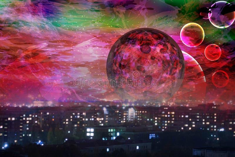 Rode maan de stad is in slaap vector illustratie