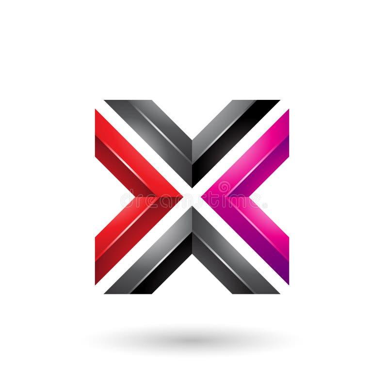 Rode Magenta en Zwarte Vierkante Gevormde Brief X Vectorillustratie vector illustratie