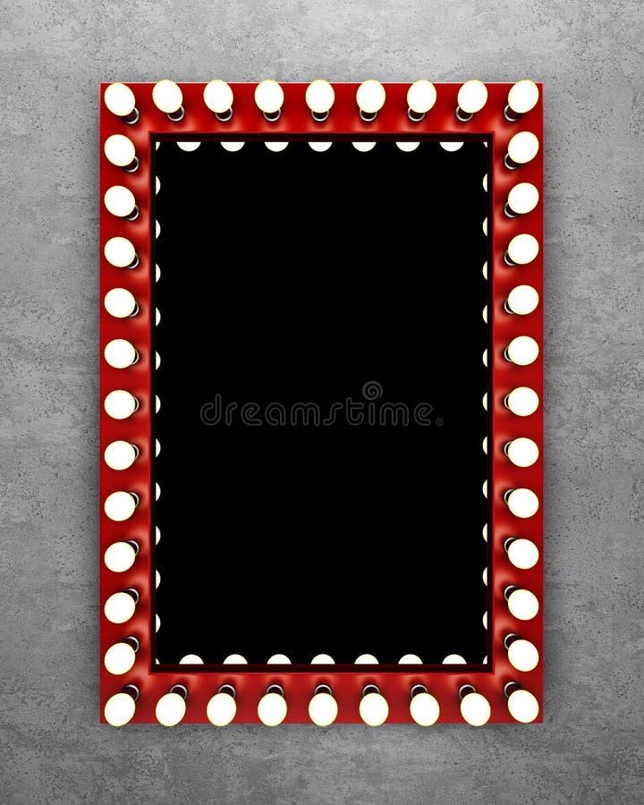Rode make-upspiegel op de concrete muur stock foto
