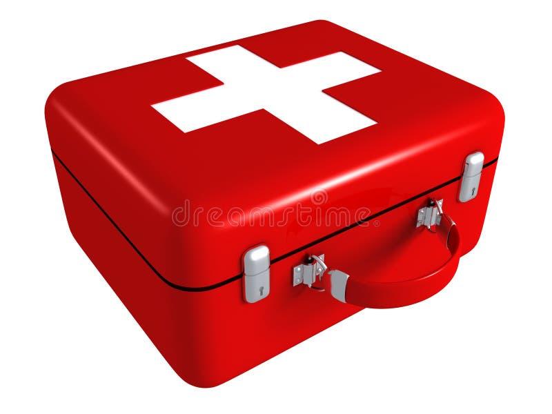 Rode medische de uitrustingsdoos van de eerste hulp stock illustratie