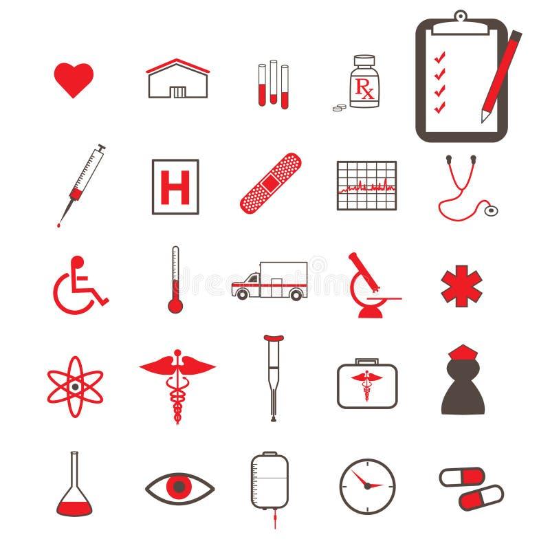 Rode Medische Pictogrammen royalty-vrije illustratie