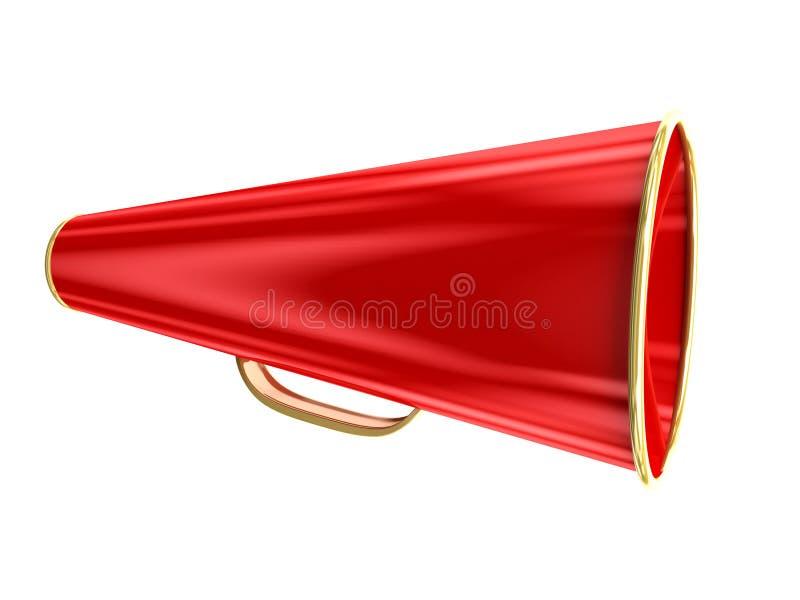 Rode megafoon die over wit wordt geïsoleerde vector illustratie
