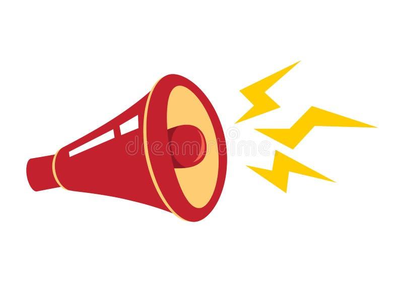 Rode megafoon, luidspreker, hoorn Vlakke ontwerpstijl Vector illustratie royalty-vrije illustratie