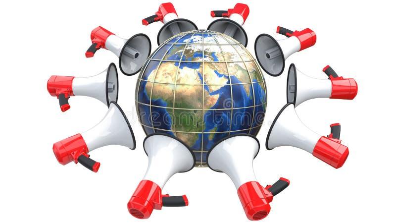 Rode megafoons in de vorm van ruimtesatellieten in zonderlinge banen rond de Aarde Het kan als concept van worden gebruikt vector illustratie