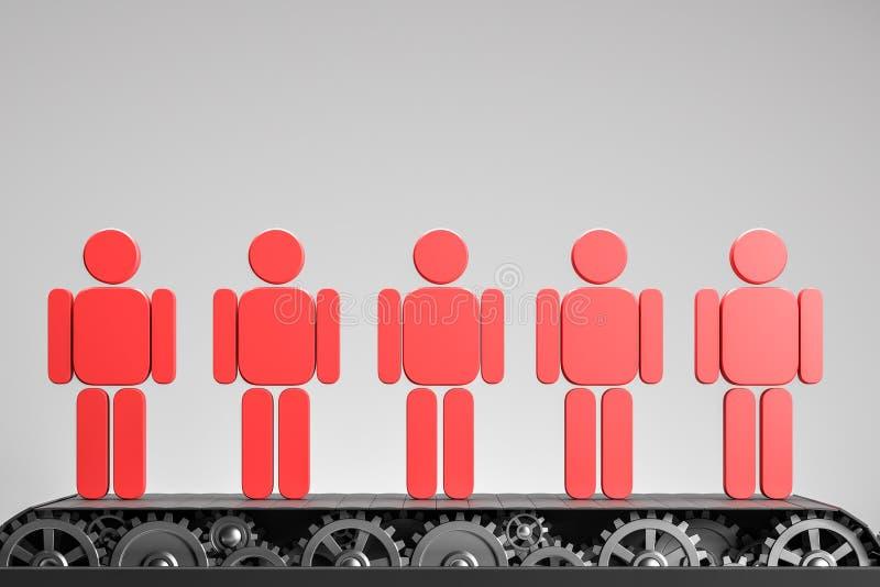 Rode mensenbeeldjes op transportband over grijs stock illustratie