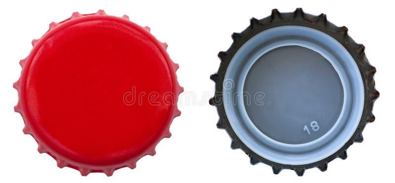 Rode MetaalKroonkurk - Beide Kanten royalty-vrije stock foto's