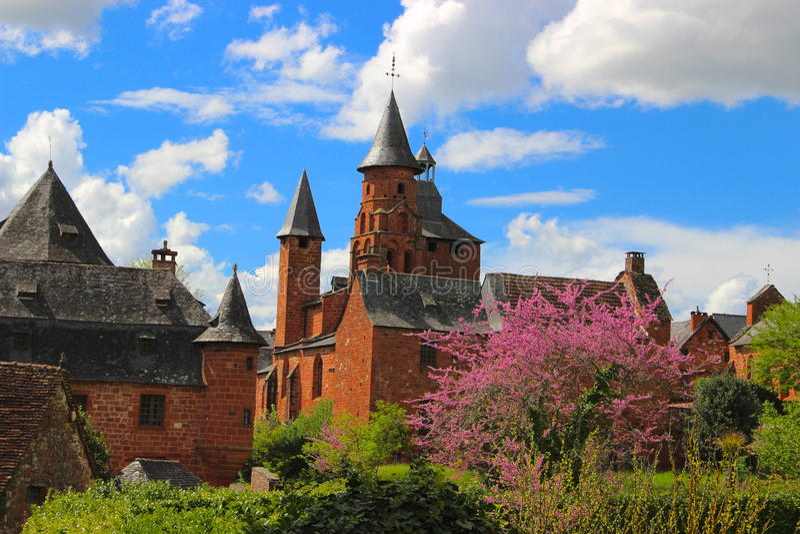 Rode middeleeuwse stad, collonges-La-Rouge, Corrèze, Limousin, Frankrijk royalty-vrije stock foto's