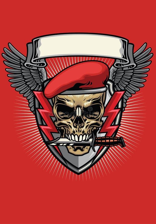 Rode militaire baretschedel met messenontwerp royalty-vrije illustratie