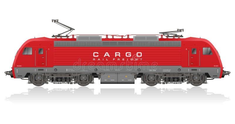 Rode moderne elektrische locomotief stock illustratie