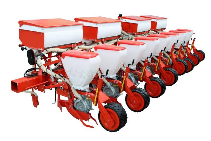 Rode moderne zaaimachine stock afbeelding