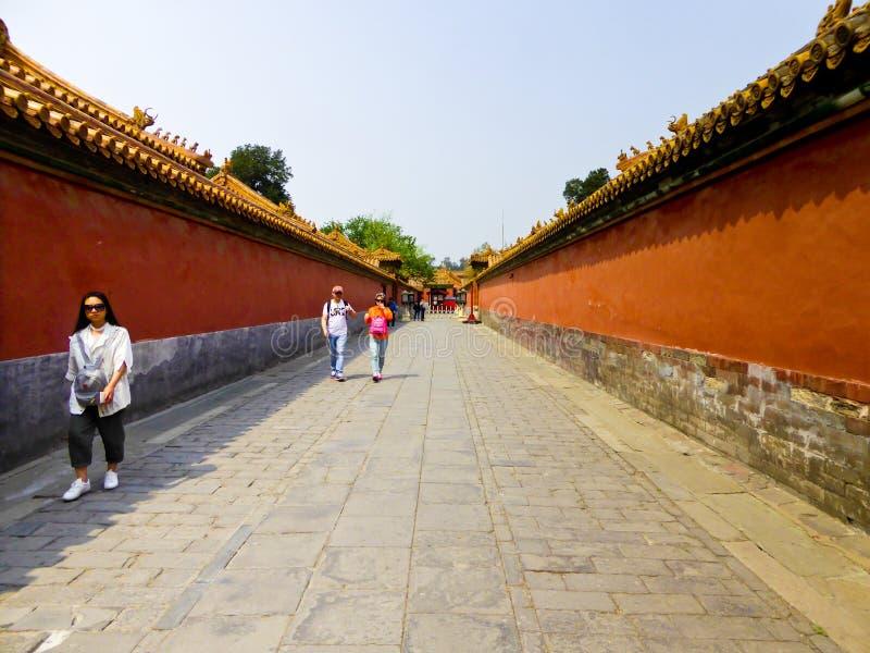 Rode muren binnen Peking Verboden Stad royalty-vrije stock foto's