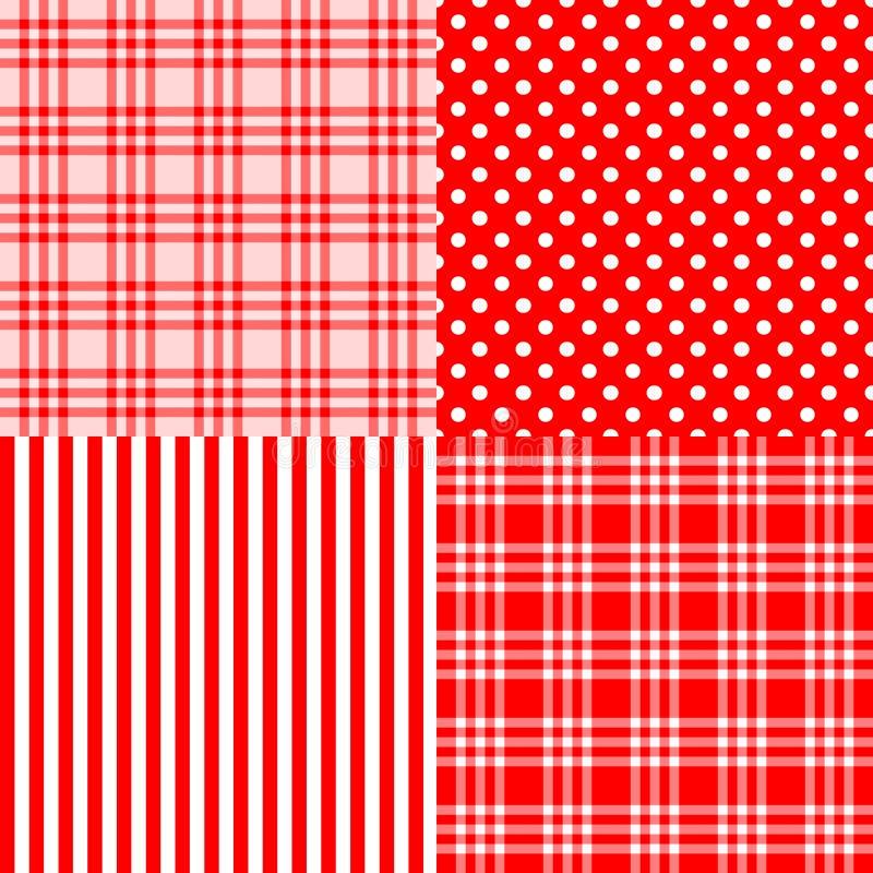 Rode naadloze gestreepte patronen, bevlekte plaid, stock illustratie