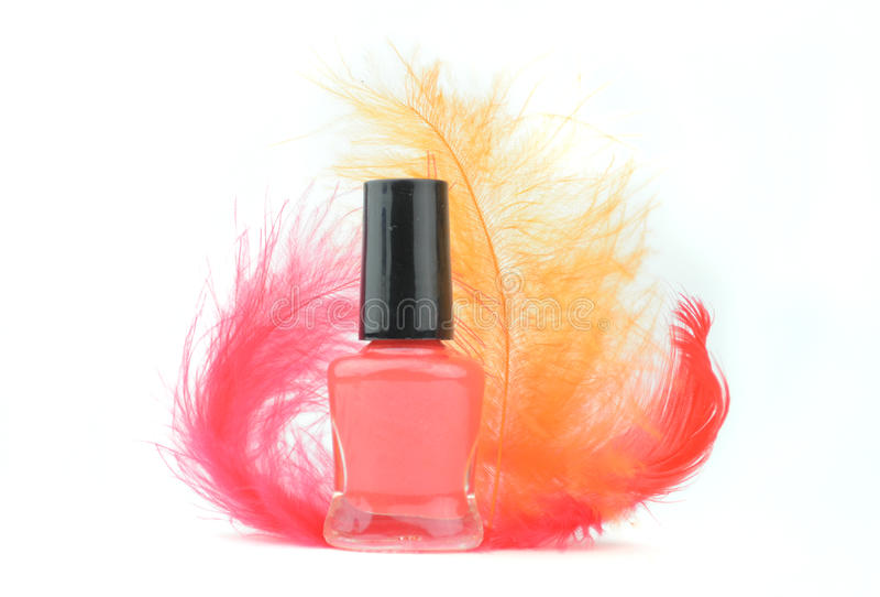 Rode nagellakfles stock foto