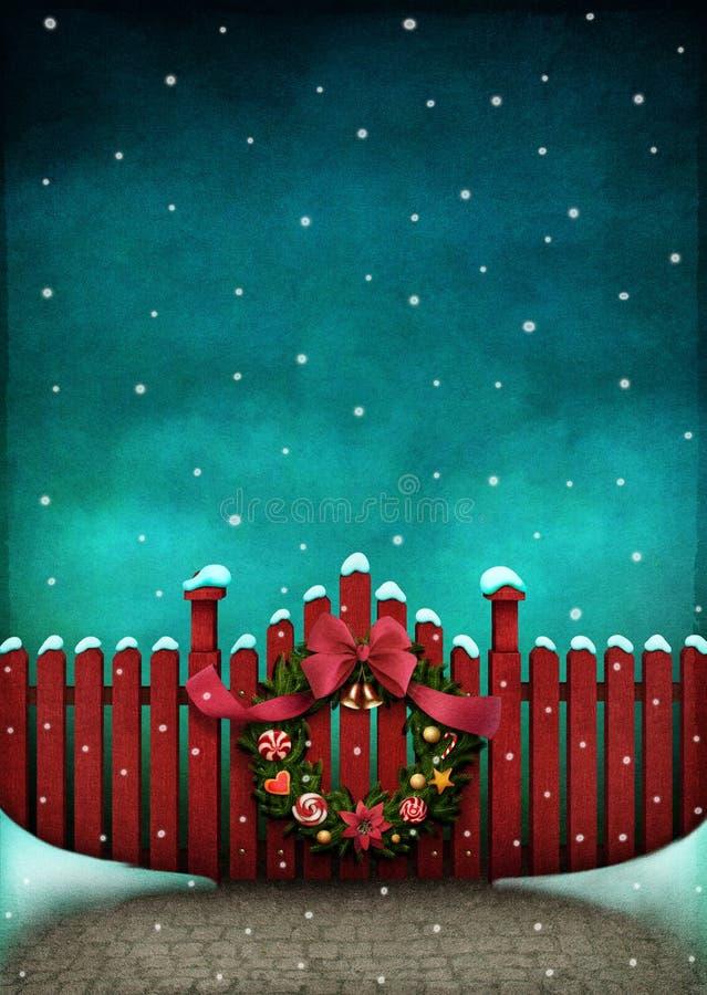 Rode omheining en Kerstmiskroon vector illustratie