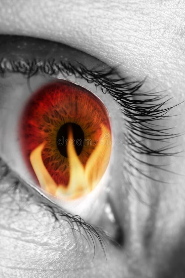Rode oog refecting brand stock afbeelding
