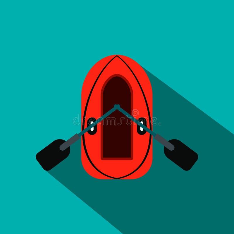 Rode opblaasbare boot met roeispanen vlak pictogram vector illustratie
