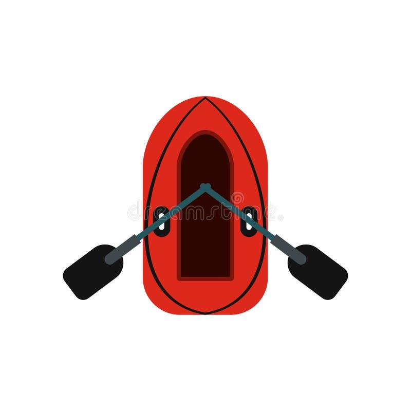 Rode opblaasbare boot met roeispanenpictogram stock illustratie