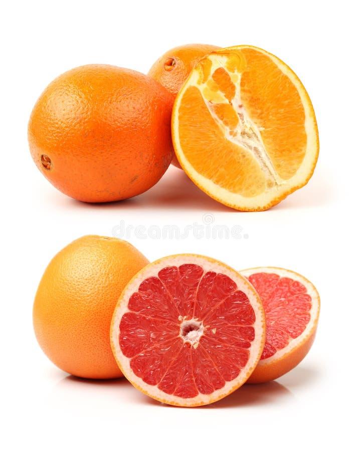 Rode oranje die fruitstudio over wit wordt geïsoleerd royalty-vrije stock foto