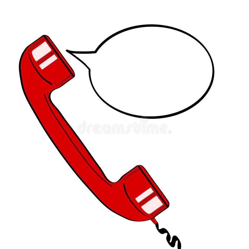 Rode oude telefoonzaktelefoon en lege toespraakbel voor uw aanbieding Ve stock illustratie
