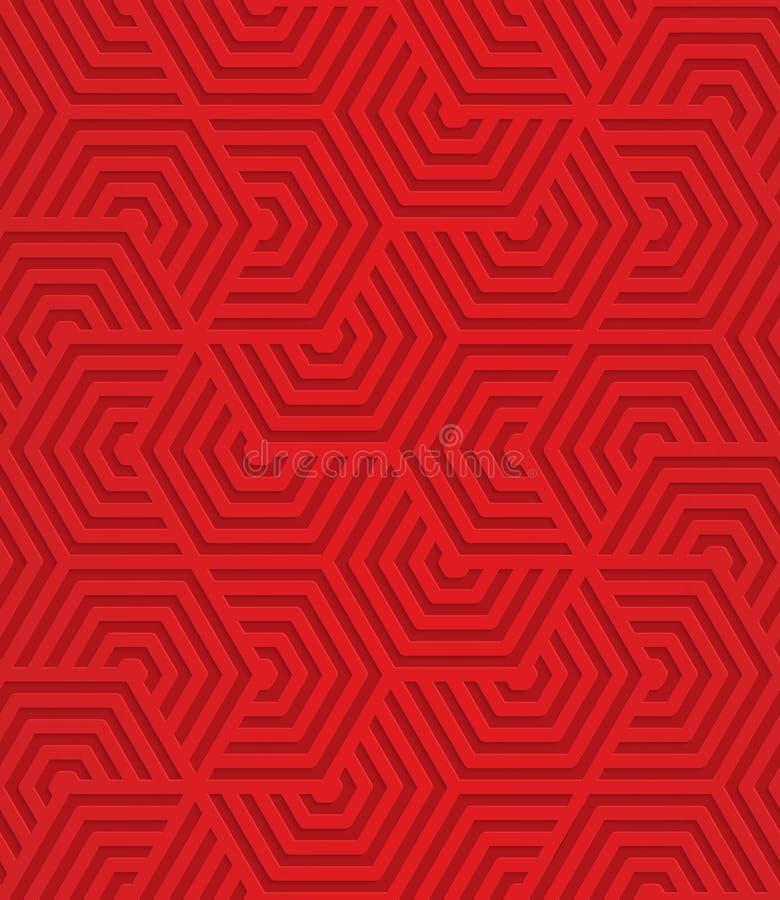 Rode overlappende gestreepte zeshoeken royalty-vrije illustratie
