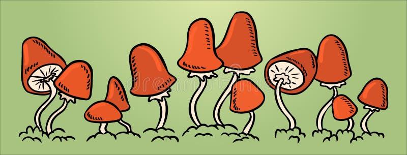 Rode paddestoelen in een lijn Vector kleurrijke illustratie royalty-vrije illustratie