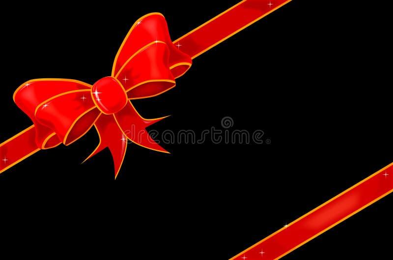 Rode Pakketboog over een Zwarte Achtergrond royalty-vrije illustratie